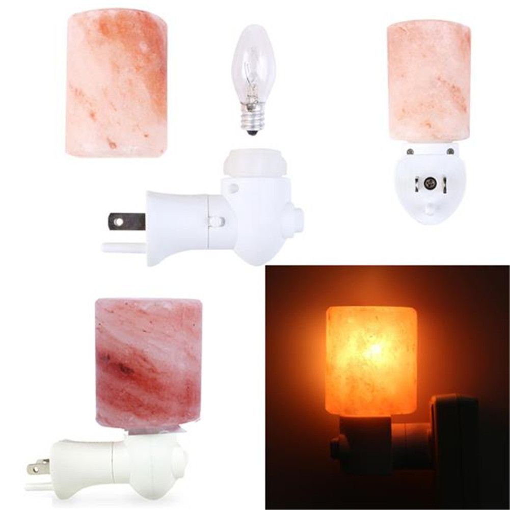 [US Direct] Natural Crystal Salt Wall  Light Himalayan Salt Lamp For Lighting Decoration Cylindrical