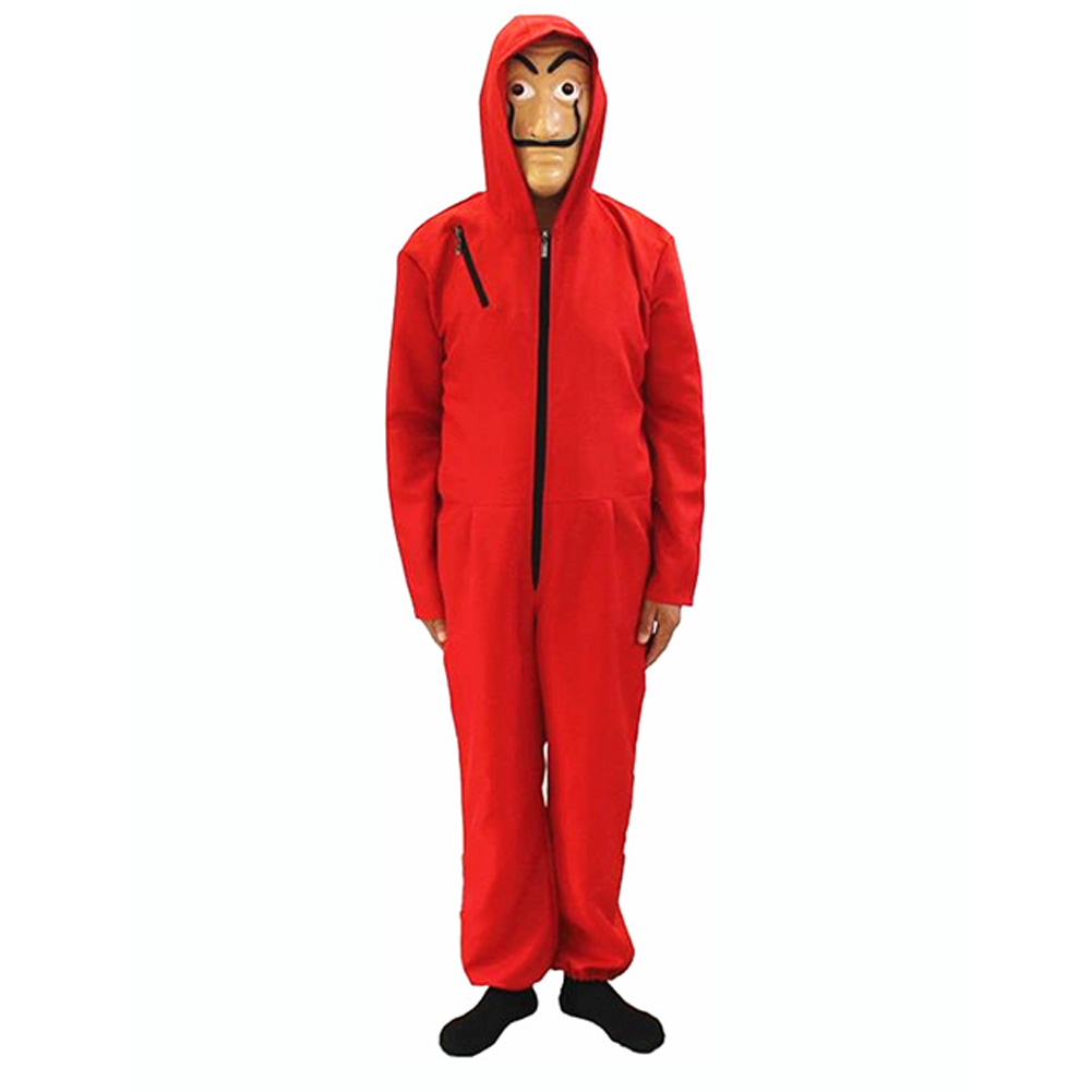 Red Zipper Jumpsuit Long Sleeves for Hallowmas Card house_Adult L