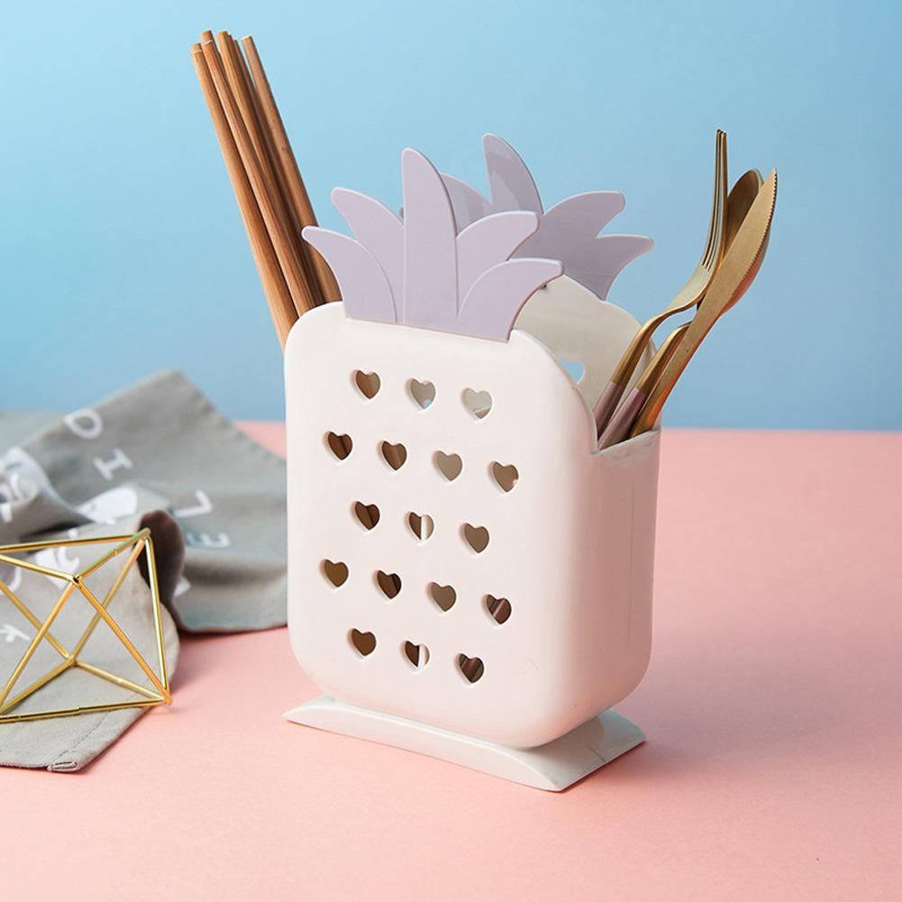 Multifunction Chopstick Cage Drain Rack Cartoon Pineapple Shape Storage Box for Cutlery white