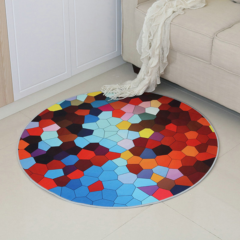 Round Carpet 3D Anti-slip Rugs Computer Chair Floor Mat for Home Kids Room diversification_100cm