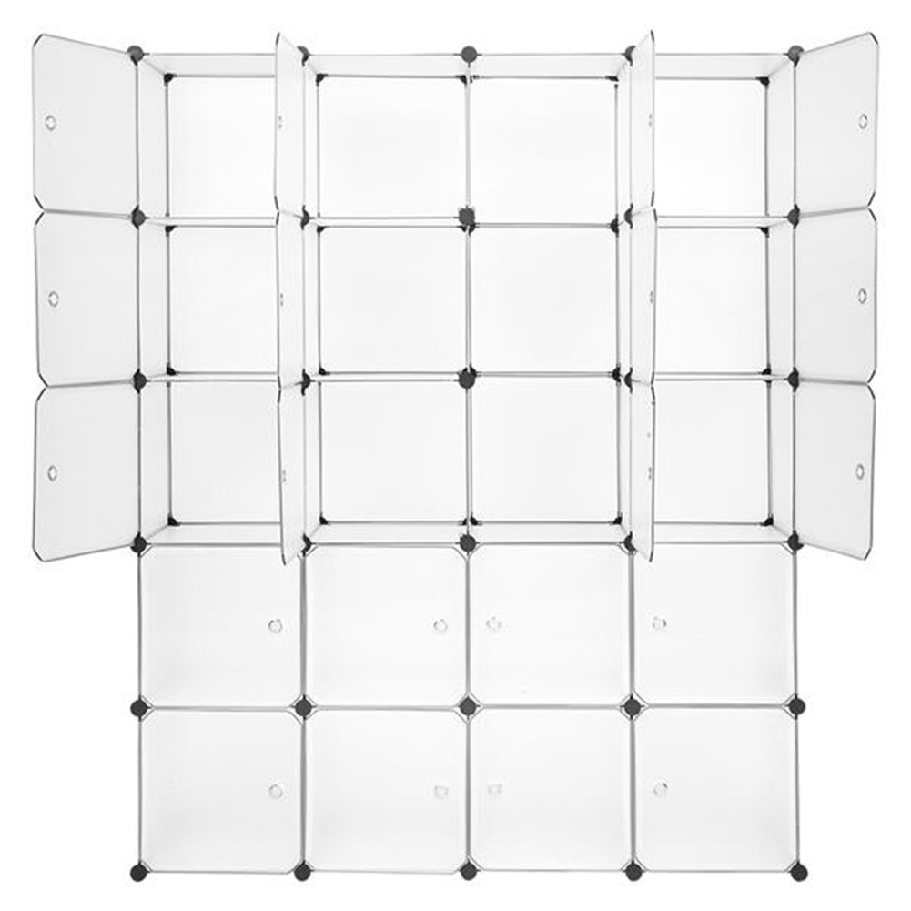 [US Direct] Portable Wardrobe 20 Cubes Closet Cabinet For Clothes Storage Organizer Cube 35*35 white