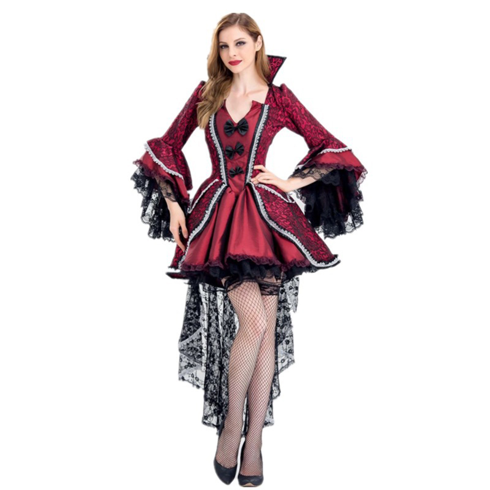 Red & Black Victorian Period Luxury Halloween Costumes for Women Vampire Queen Cosplay Costume Adult Witch Gothic Fancy Dress red_L