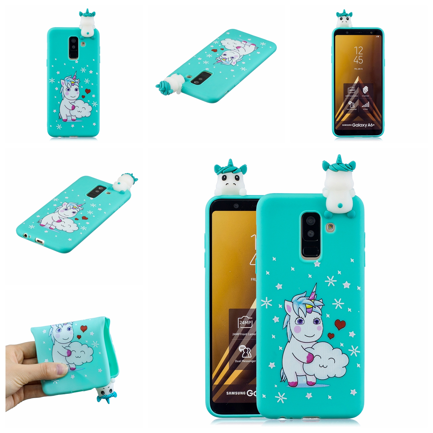 For Samsung A6 plus 2018 3D Cartoon Lovely Coloured Painted Soft TPU Back Cover Non-slip Shockproof Full Protective Case Love unicorn