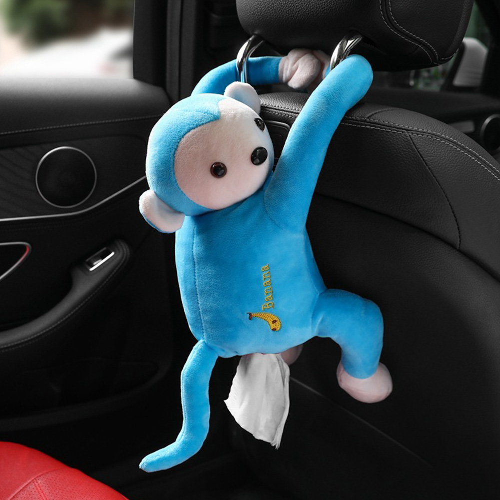 Multifunctional Car Tissue Box Cute Cartoon Paper Napkin Box Monkey Hanging Ornament Blue