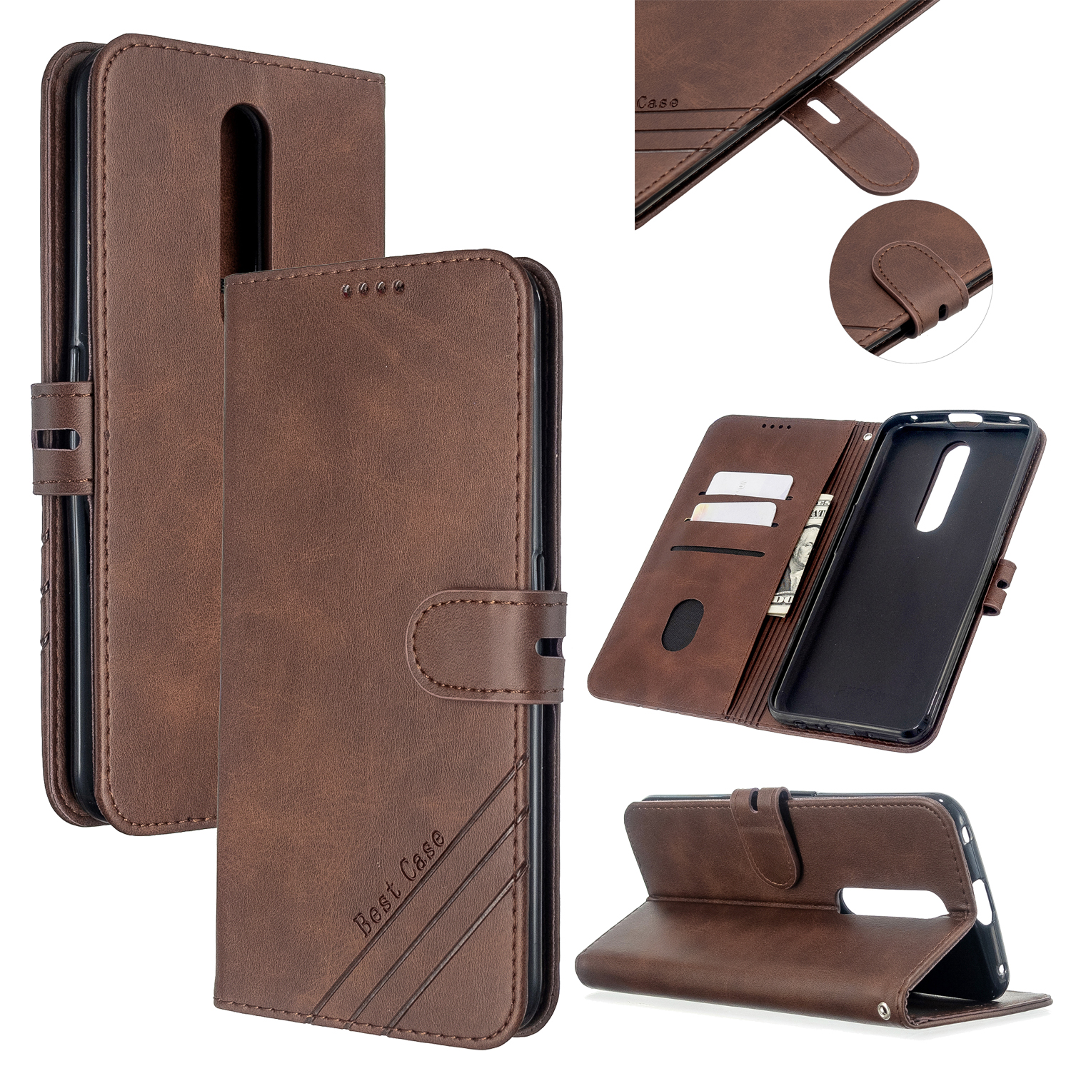For OPPO F11/F11 Pro Case Soft Leather Cover with Denim Texture Precise Cutouts Wallet Design Buckle Closure Smartphone Shell  brown
