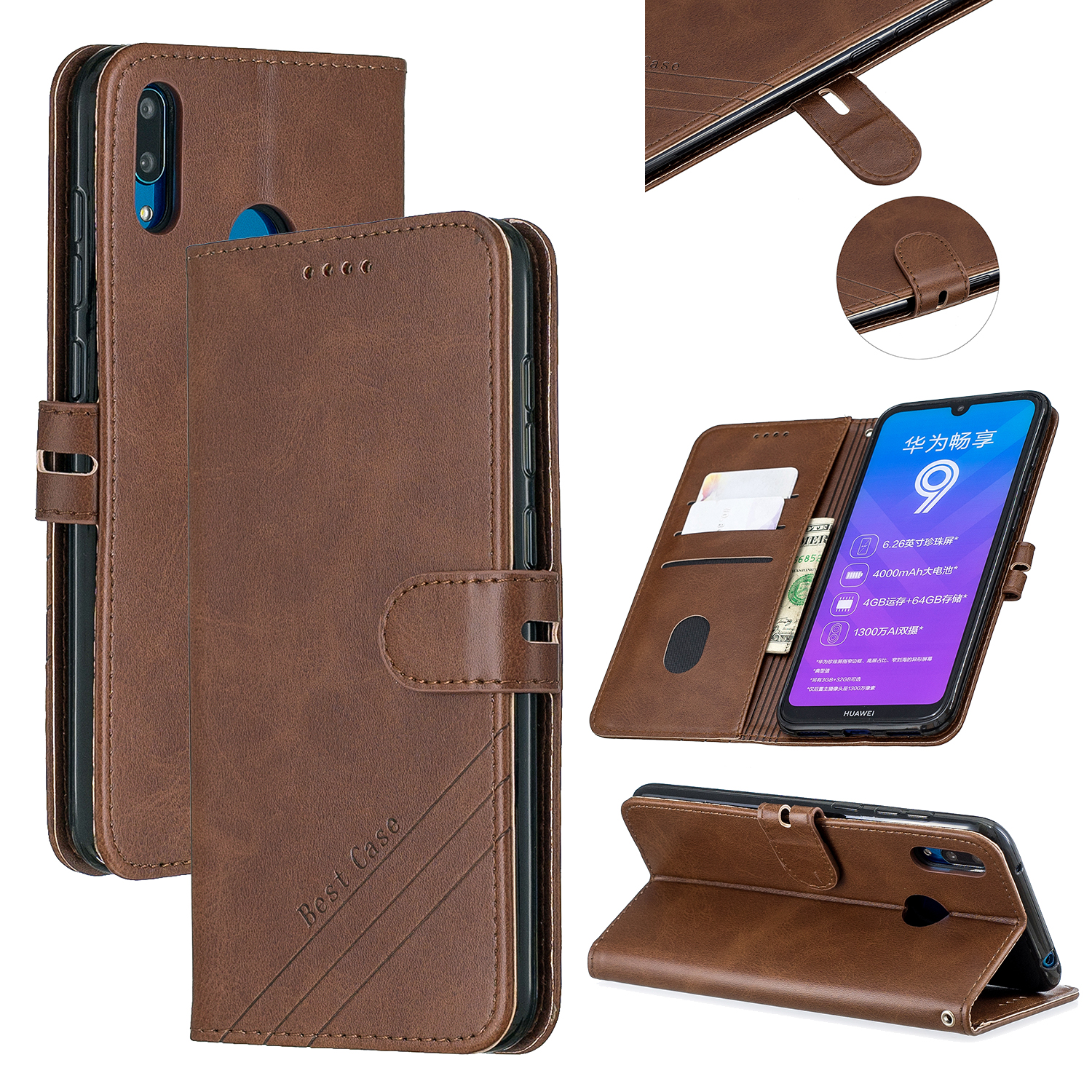For HUAWEI Y7 2019 Denim Pattern Solid Color Flip Wallet PU Leather Protective Phone Case with Buckle & Bracket brown