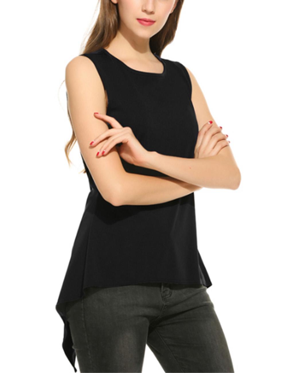 Women Solid Color Back Split Irregularity Tops Slim Design Sleeveless Tops Shirt
