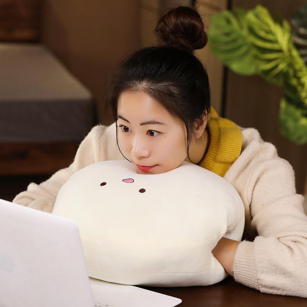 15Inches Cute Cartoon Doll Plush Toy Stuffed Throw Pillow Hand Warm Cushion for Kids Girls Nap Beige hands warmer