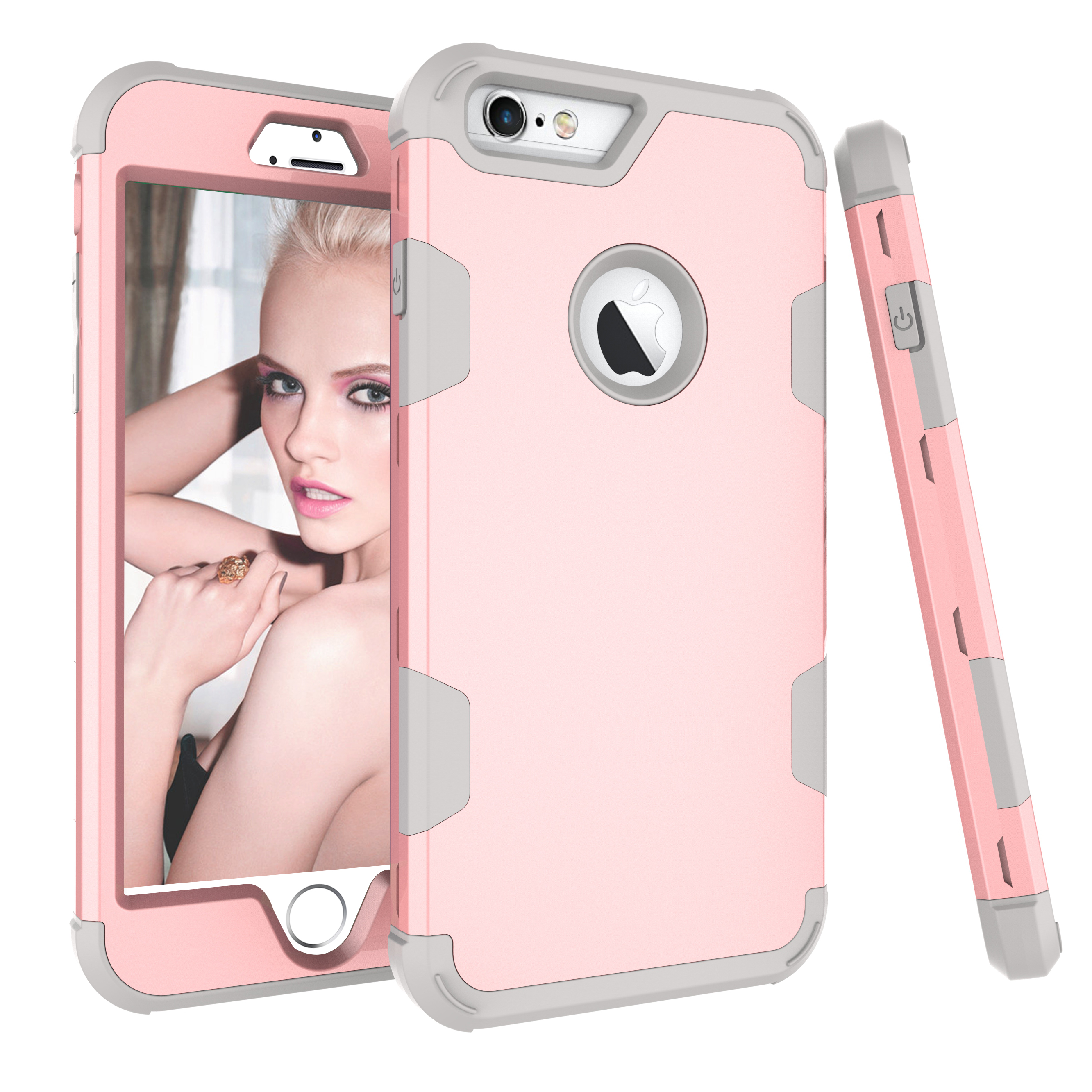 For iPhone 6 plus/6S plus PC+ Silicone 2 in 1 Hit Color Tri-proof Shockproof Dustproof Anti-fall Protective Cover Back Case Rose gold + gray