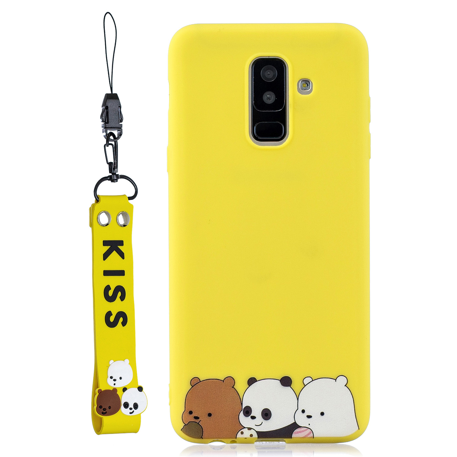 For Samsung A6 plus 2018 Cute Coloured Painted TPU Anti-scratch Non-slip Protective Cover Back Case with Lanyard yellow