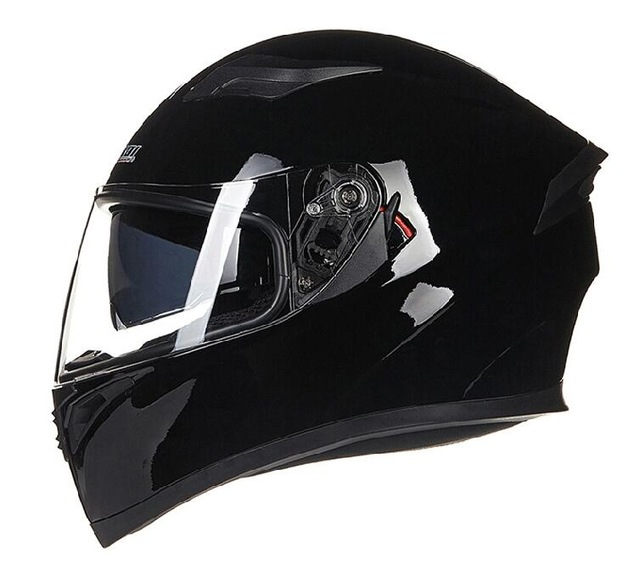 Unisex Full Face Cool Motorcycle Helmet with Dual Lens Racing Head Protector Bright black_L