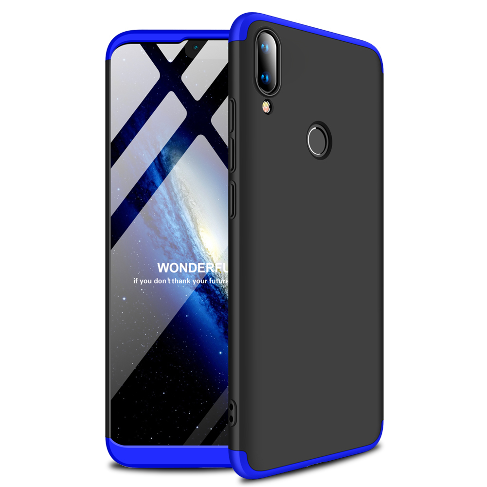 for HUAWEI Y9 2019 Ultra Slim PC Back Cover Non-slip Shockproof 360 Degree Full Protective Case Blue black blue_HUAWEI Y9 2019