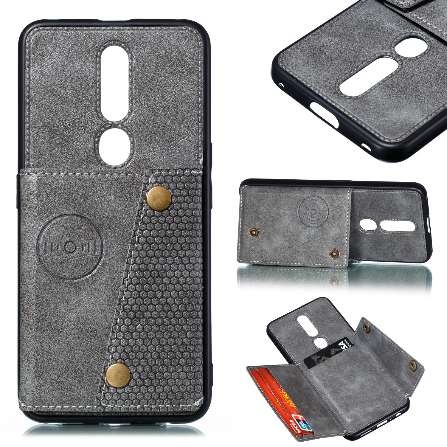 For OPPO F11 pro PU Leather Flip Stand Shockproof Cell Phone Cover Double Buckle Anti-dust Case With Card Slots Pocket gray