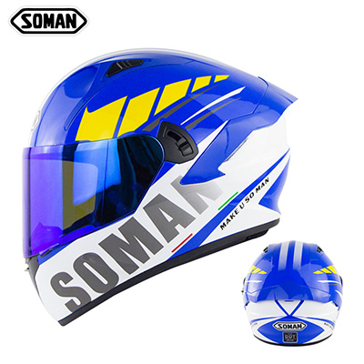 Motorcycle Helmet Anti-Fog Lens sith Fast Release Buckle and Ventilation System Wearable Ergonomic Helmet Suzuki Blue_XL