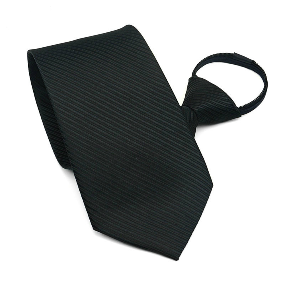 10CM Men Business Style Simple Lazy Zipper Tie black