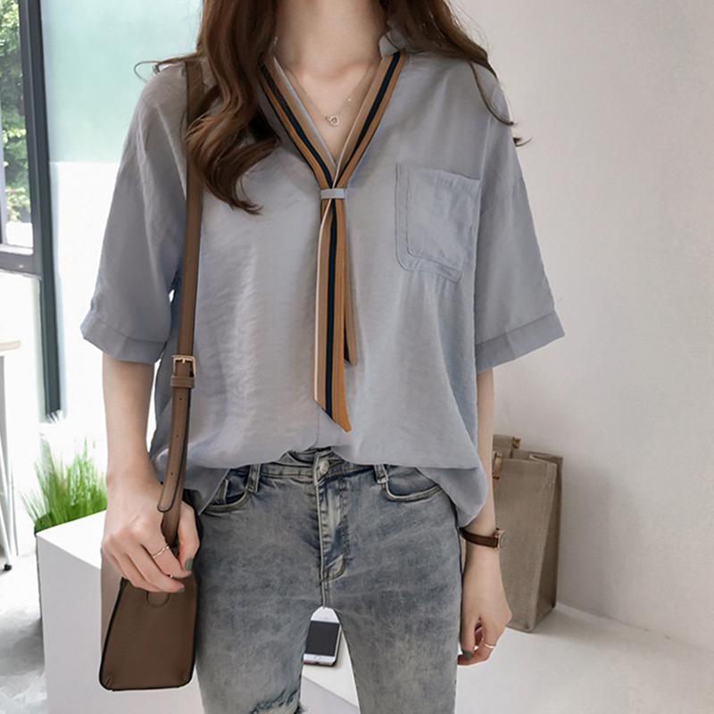 Women Summer Striped Tie Shirt Short Sleeve Loose Shirt blue_L