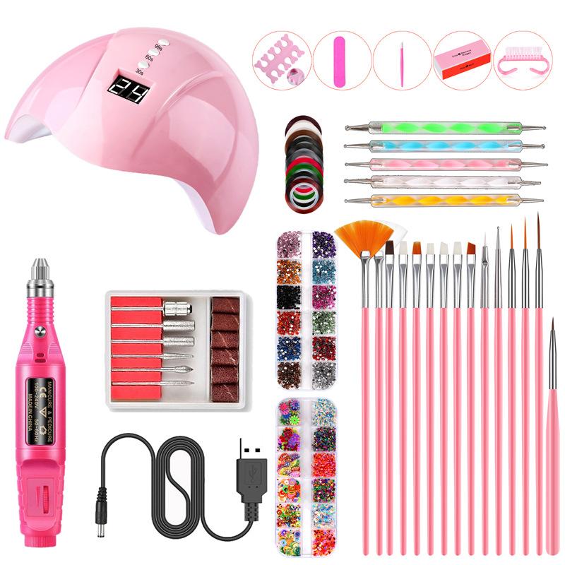 Nail Art UV Gel Lamp Manicure Set USB Grinding Machine Nail Kit Tools For Manicure Set For Nail Art Pusher Kit 01P pink