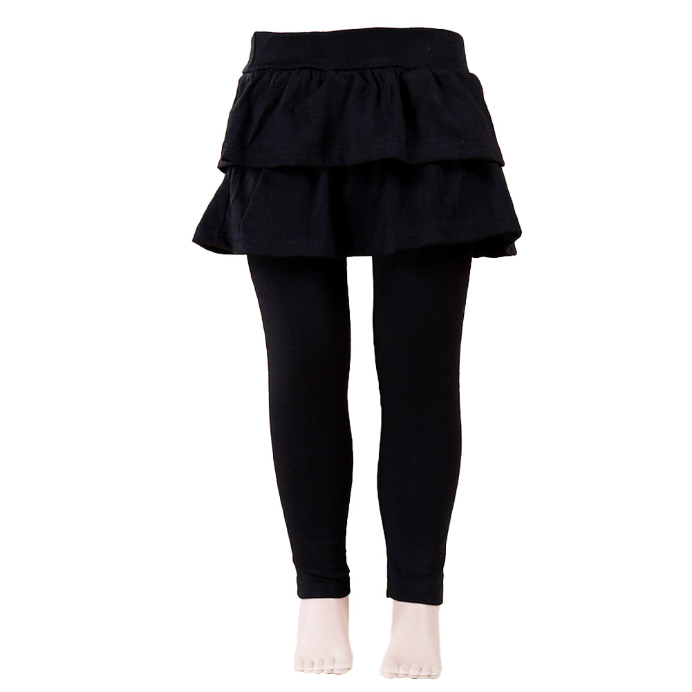 Baby Leggings Soft Girl Pants Leggings Pure Color Cotton Plain Ruffled Pantskirt black_130cm