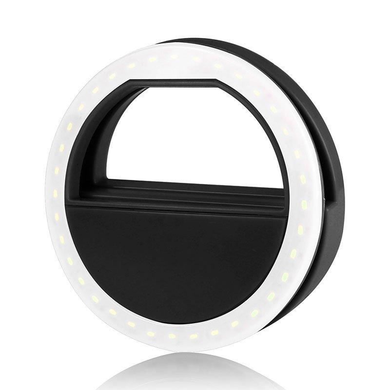 Phone Len LED Fill Light Portable Universal Selfie Light Flash Lamp LED Light Ring  Black