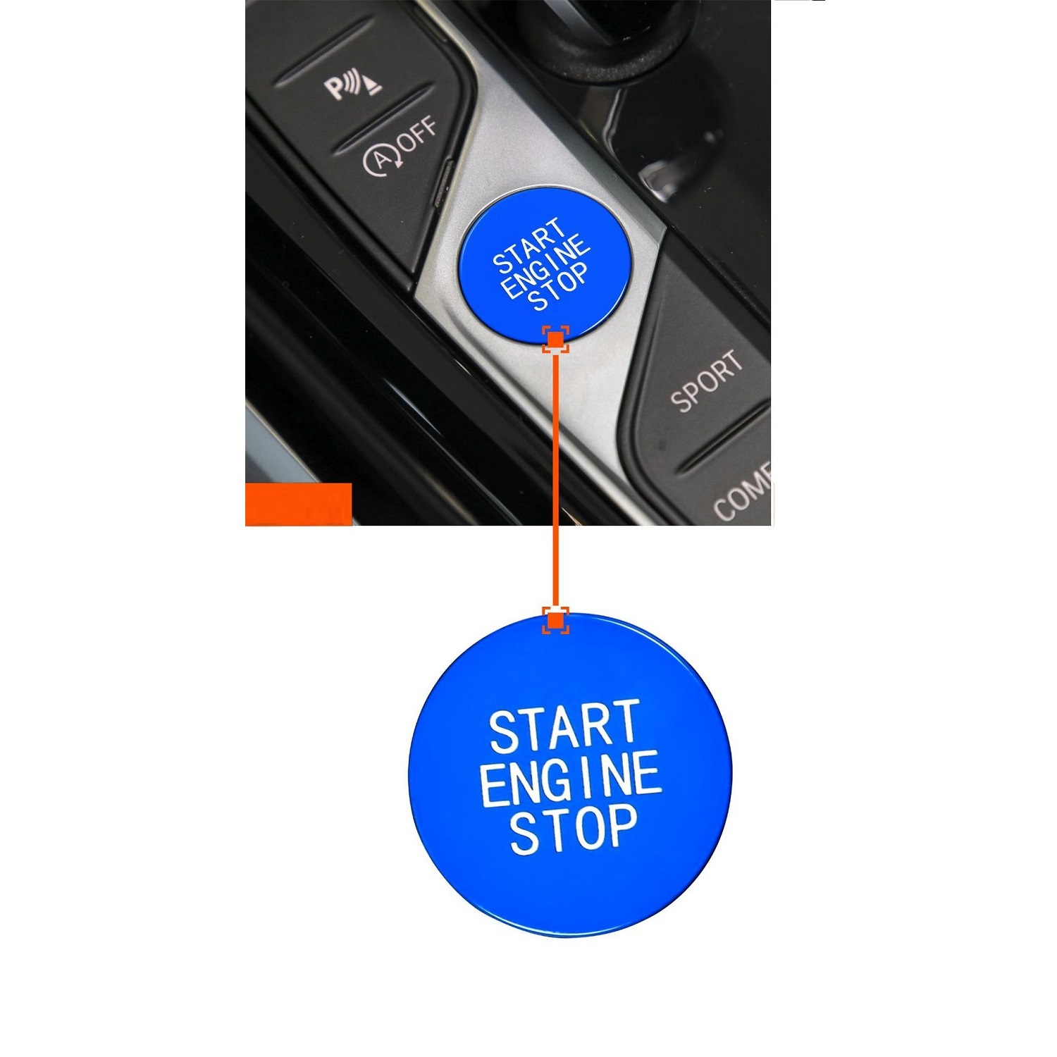 Car Start Engine Stop Switch Ignition Button Replacement Trim For 3 Series Blue