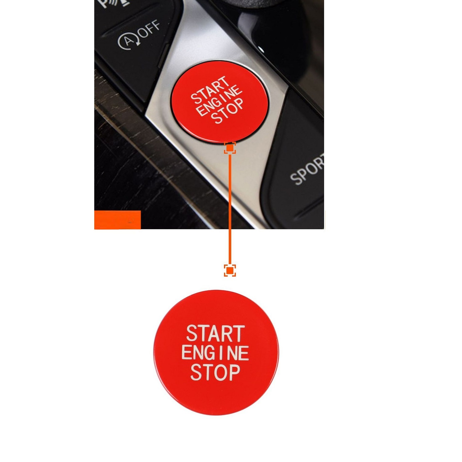 Car Start Engine Stop Switch Ignition Button Replacement Trim For 3 Series Red