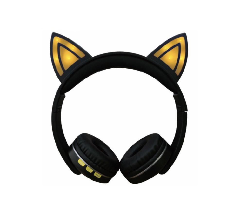 Cat Ear LED Lighting Headset Wireless Bluetooth 5.0 Earphone Lovely for Kids Adults yellow