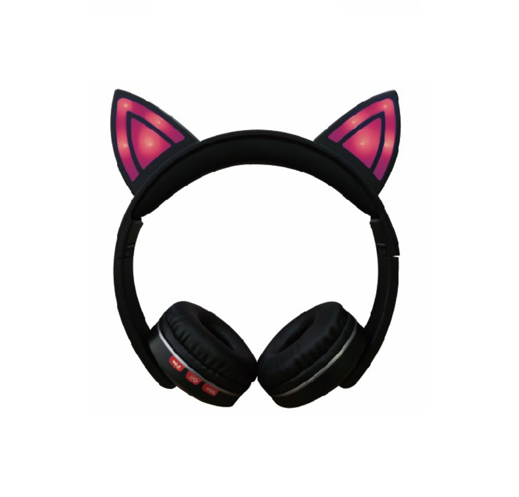 Cat Ear LED Lighting Headset Wireless Bluetooth 5.0 Earphone Lovely for Kids Adults red
