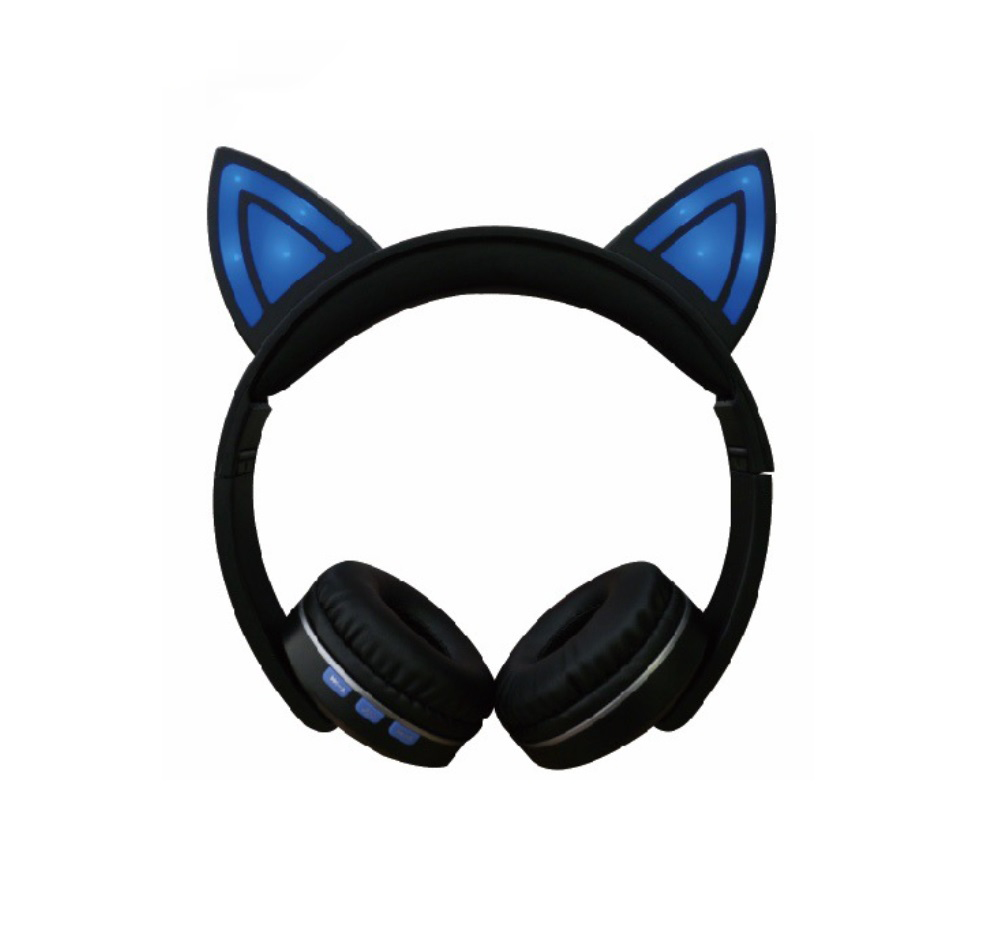 Cat Ear LED Lighting Headset Wireless Bluetooth 5.0 Earphone Lovely for Kids Adults blue