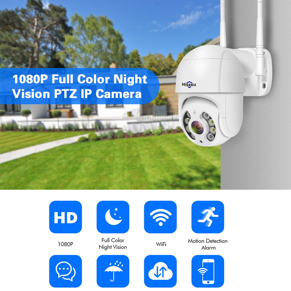 Mini 1080P Wireless PTZ IP Camera Onvif Outdoor Waterproof Speed Dome Camera P2P Two Way Audio CCTV white