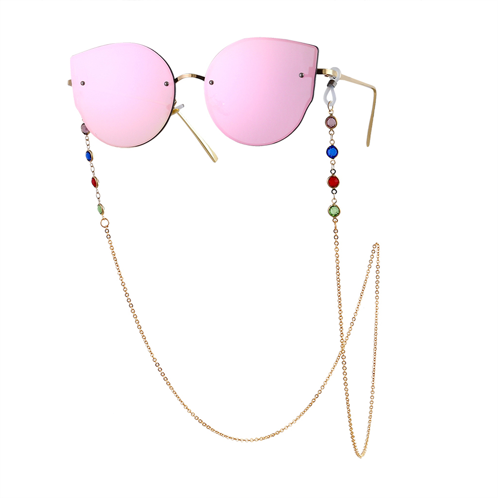 Woman Fashion Colorful Diamond-encrusted Anti-slip Eyeglasses Chain Gold