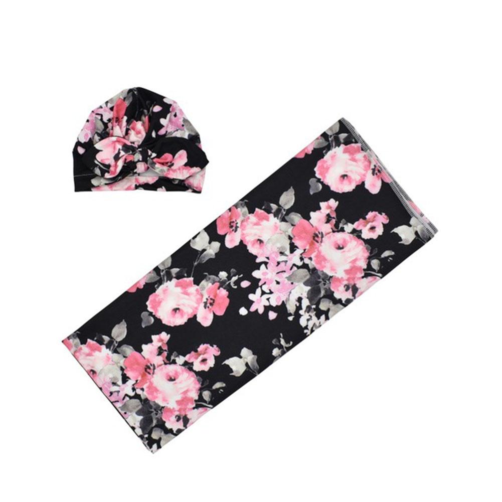 Newborn Photography Blanket Rabbit Ear Cap Blanket set Floral Printing Headgear Blanket set Black blankets with flower_80*80
