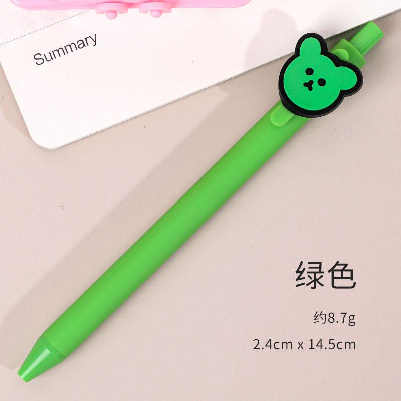 Gel Pen Press Style Cartoon Ballpoint Pen for School Writing Stationery green_0.5mm