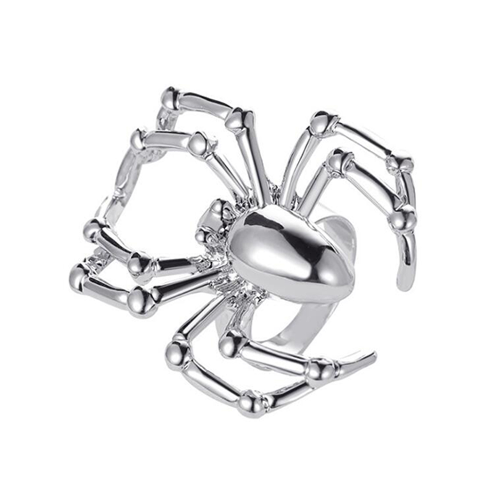 Halloween Ring Simulation Spider Spoof Tricky Toy Gothic Ring 01 silver