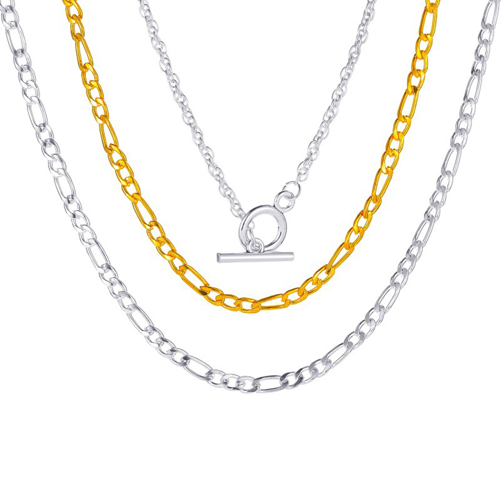 Men's and Women's Necklace Thick Chain One-word Buckle Punk Style Exaggerated Short Multi-layer Clavicle Chain Silver