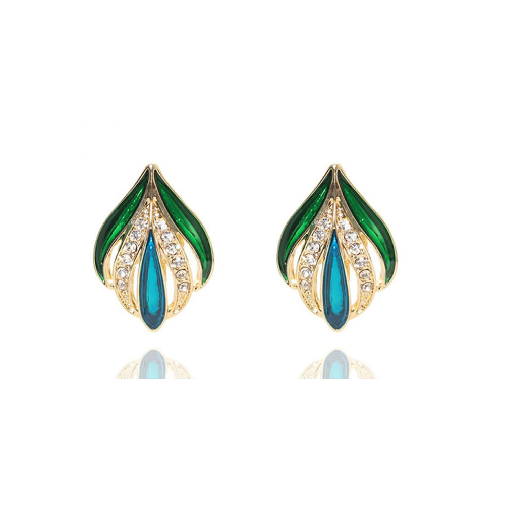 1 Pair of Women's Earrings Retro Style Leaf and Bud Colorful Glaze Diamond-mounted Ear Clip Golden