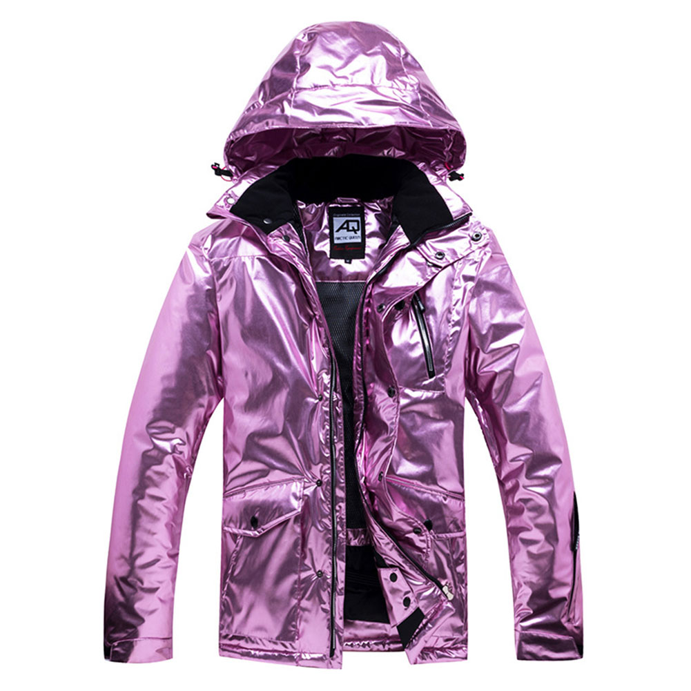 Women Man Winter Warm Thickening Waterproof And Windproof Skiing Hiking Jacket Tops Rose gold_S