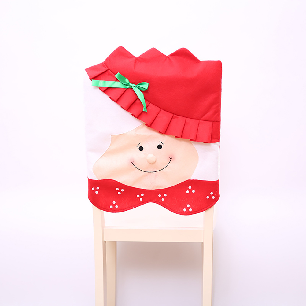 Christmas Chair Covers Slipcover Chair Back Cover for Kitchen Dining Room Hotel Xmas Holiday Party Decor Old woman