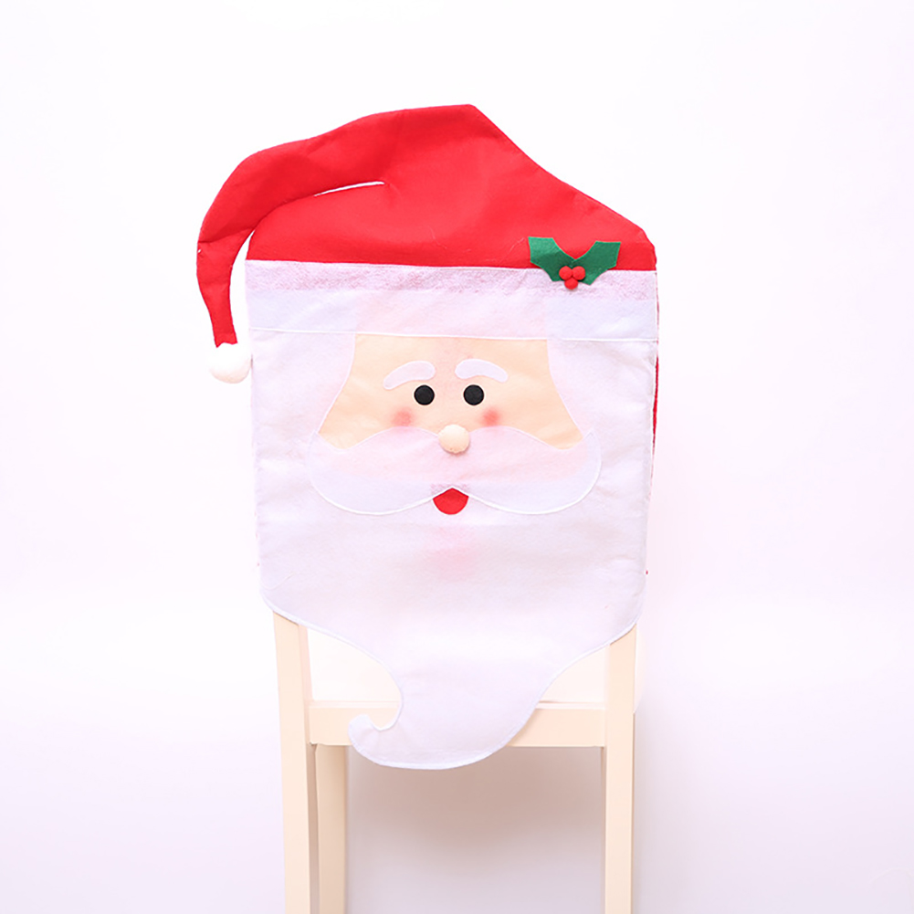 Christmas Chair Covers Slipcover Chair Back Cover for Kitchen Dining Room Hotel Xmas Holiday Party Decor old man