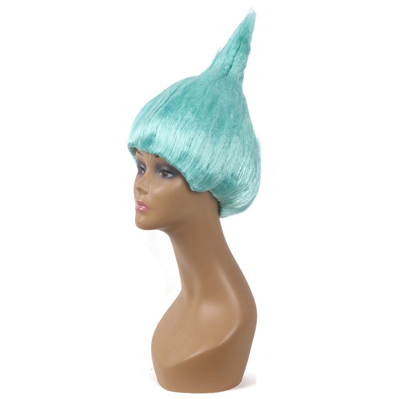 36cm Trolls Poppy Wig For Kids Children Cosplay Hair Wigs Halloween Party Supplies Lake Blue