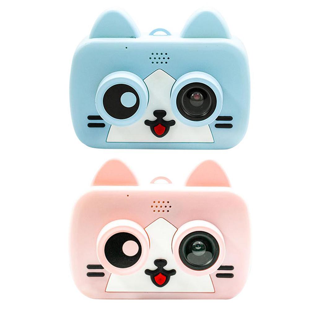 Ultra-mini Smart Children's Camera IPS 1080P HD Kids Waterproof Digital Cameras 1200W 2-Inch Cartoon Camera Support WiFi TF Card Pink