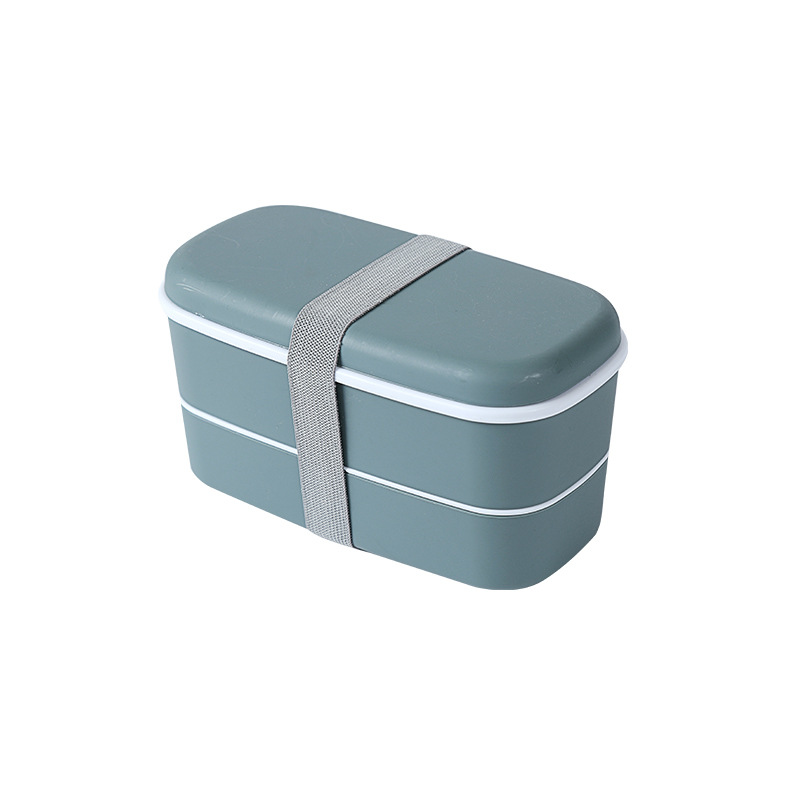 Double Layer Frosted Lunch Box With Built-in Tableware Food Storage  Container Dark green