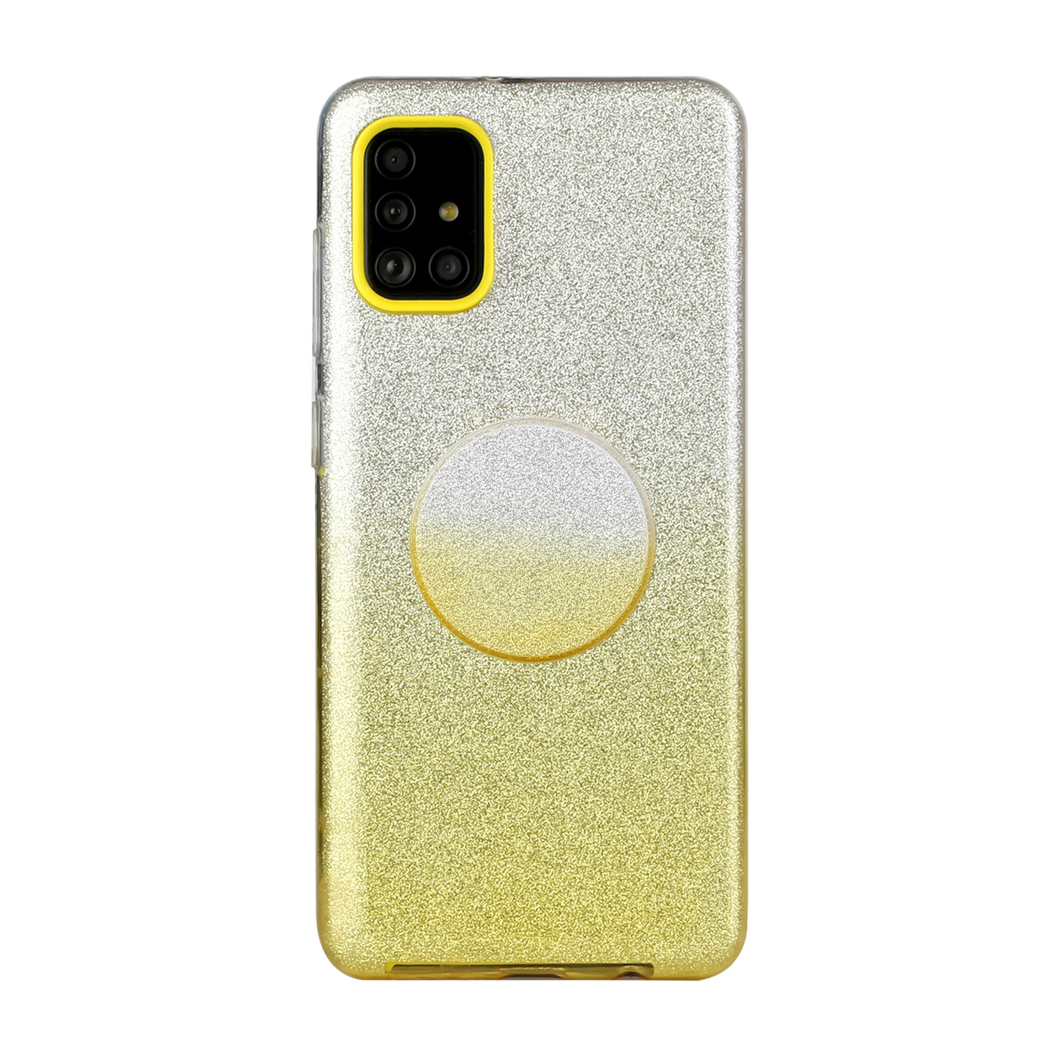 For Samsung A01/A11 European version/A31/A71 Phone Case Gradient Color Glitter Powder Phone Cover with Airbag Bracket yellow