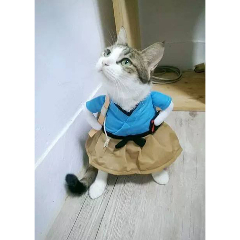 Funny Cat Dog Costume Uniform Suit Clothes Puppy Dressing Up Suit Party Cosplay Clothes M