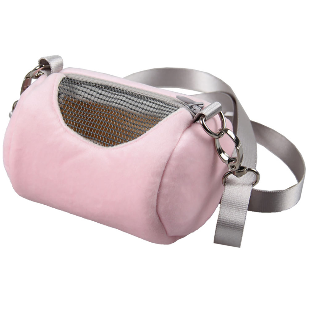 Portable Pet Hamster Cylinder Bag Carrier Comfortable Travel Bags Should Bag for Flying Squirrel Small Animals  Pink