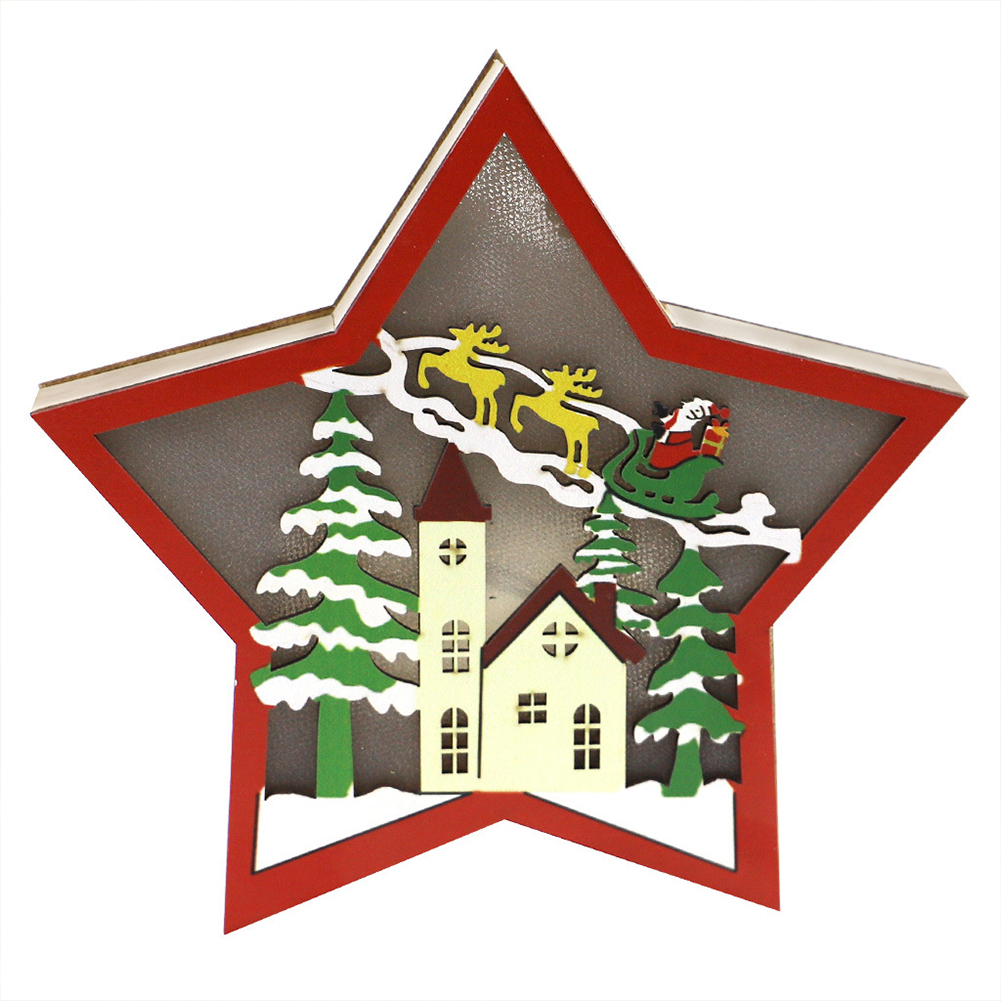 Wooden Christmas  Ornaments Five-pointed Star With Led Light Table Decoration Crafts JM00910 House