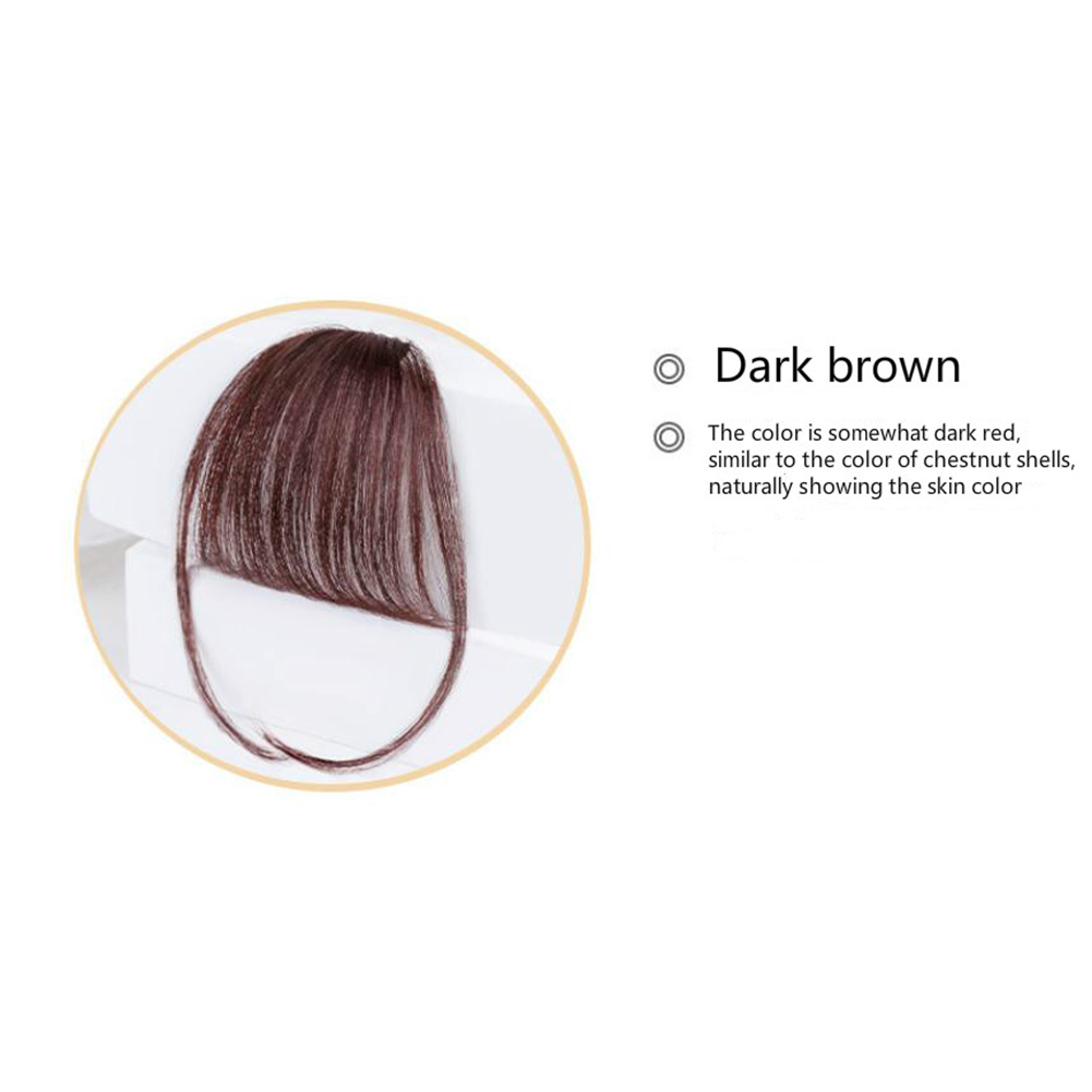Lady Beauty Clip In Bangs Human Hair Air Bang Brazilian Hair Pieces Invisible Seamless Non-remy Replacement Hair Wig Dark brown