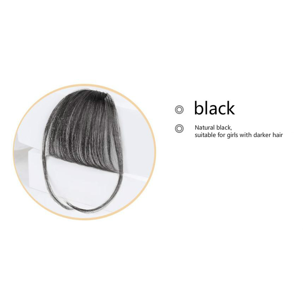 Lady Beauty Clip In Bangs Human Hair Air Bang Brazilian Hair Pieces Invisible Seamless Non-remy Replacement Hair Wig Black