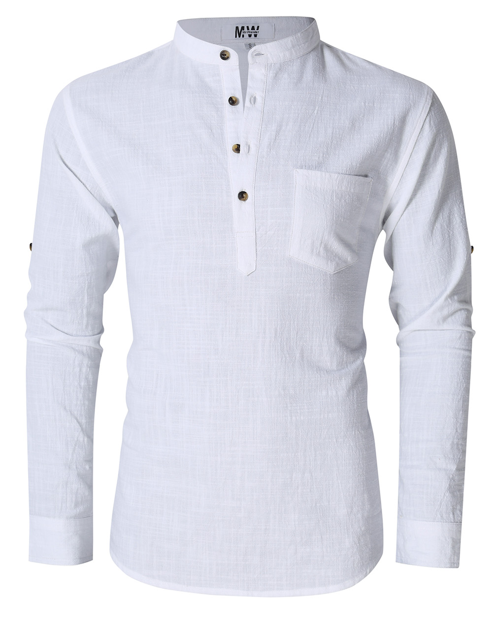 MrWonder Men's Casual Slim Fit Henley Neck Long Sleeve Linen Shirt White_XL