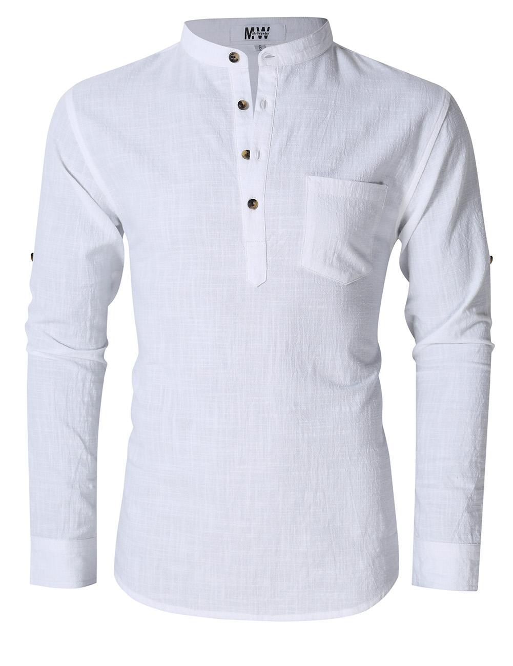 MrWonder Men's Casual Slim Fit Henley Neck Long Sleeve Linen Shirt White_2XL