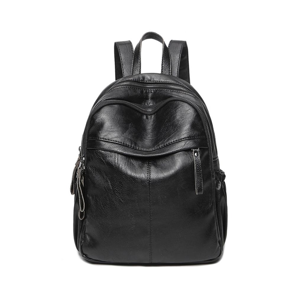 Women Casual PU Travel Backpack Solid Color Multi-pocket Shoulders Bag Schoolbag Daypacks Black